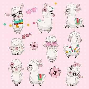 Colección cute llama alpaca vicuna set kawaii