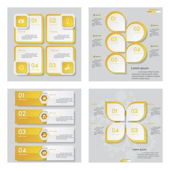 Colección de 4 plantilla de diseño de color amarillo.