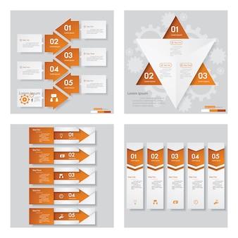 Colección de 4 plantillas de diseño de color naranja