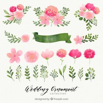 Colección de adornos de boda florales en acuarela