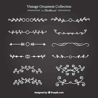 Colección de adornos vintage con estilo de pizarra