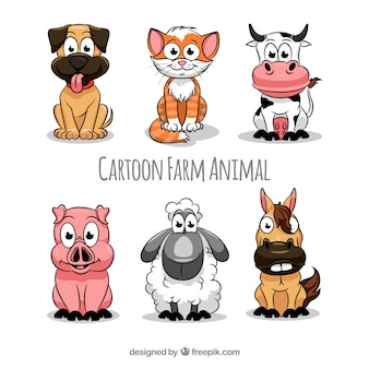 Colección de animales de granja de dibujos animados