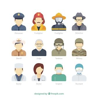 Colección de avatares de profesión