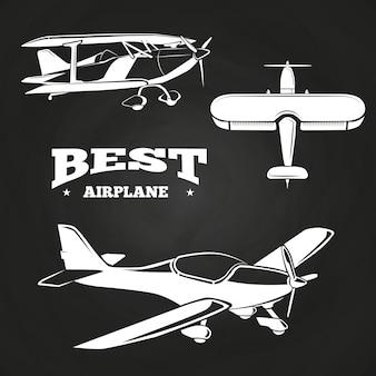 Colección de aviones blancos en el diseño de la pizarra