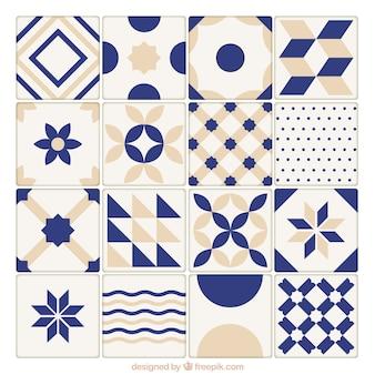 Colección de azulejos azules y beige