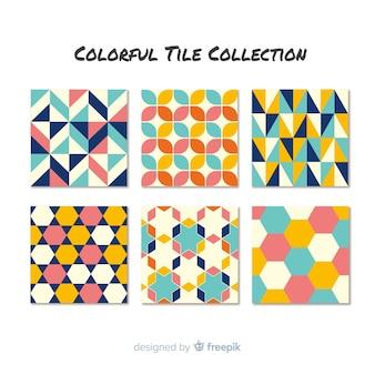 Colección de azulejos elegantes coloridos