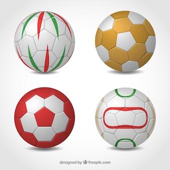 Colección de balones de balonmano en estilo realista