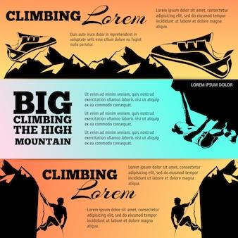 Colección de banners de escalada con siluetas negras