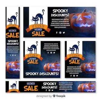 Colección de banners de rebajas web de halloween
