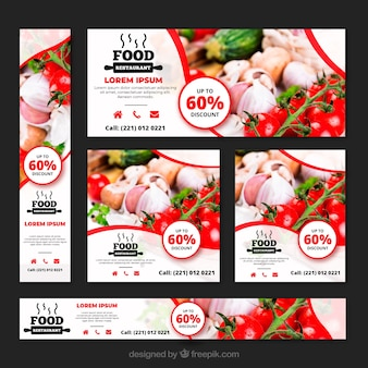 Colección de banners de restaurante de comida sana con fotos