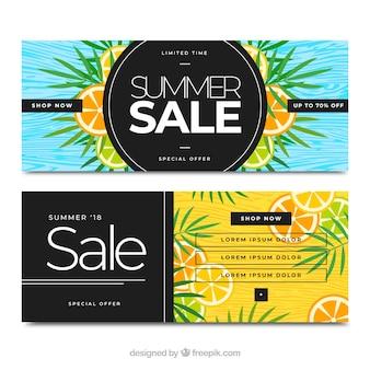 Colección de banners de venta de verano con frutas
