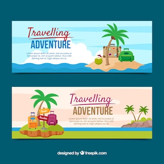 Colección de banners de viaje con destino