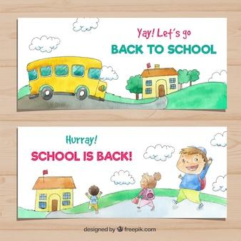 Colección de banners de vuelta al colegio con bus y estudiantes