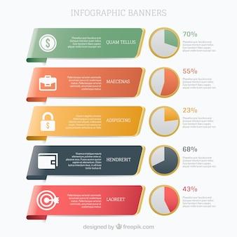 Colección de banners infográficos con gráficos circulares