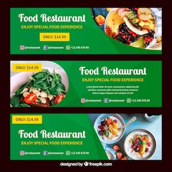 Colección de banners web de restaurante de comida sana con foto