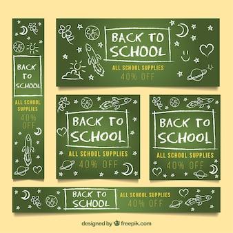 Colección de banners web de vuelta al colegio con diseño plano