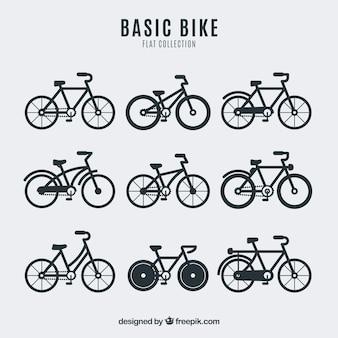 Colección de bicicletas en diseño plano