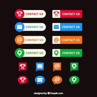 Colección de botones de colores de contacto e iconos