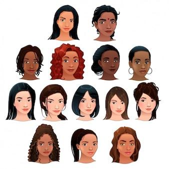 Colección de cabezas de mujeres