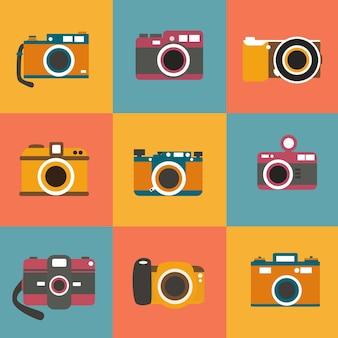Colección de cámaras de fotos a color
