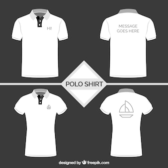 Colección de camisetas de polo en blanco