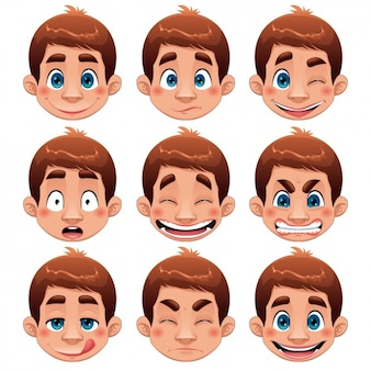 Colección de caras de chico