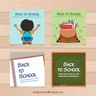 Colección de cartas de vuelta al colegio con elementos