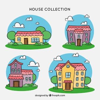 Colección de casas con muchos colores