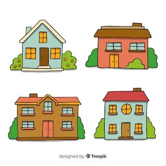 Colección de casas dibujadas a mano