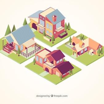 Colección de casas residenciales en estilo isométrico