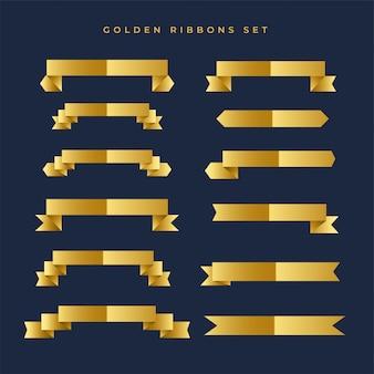 Colección de cintas de color dorado brillante