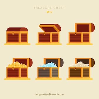 Colección de cofres del tesoro antiguos con diseño plano