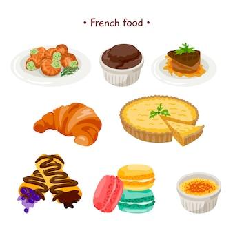 Elementos a color de francia descargar vectores gratis for Comida francesa popular