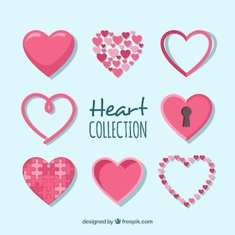 Colección de corazón plano