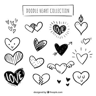 Colección de corazones hechas a mano