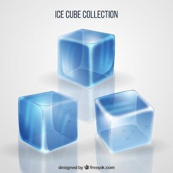 Colección de cubitos de hielo con estilo realista