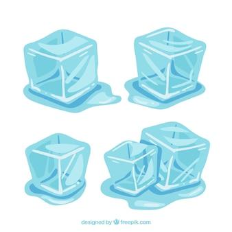Colección de cubos de hielo derritiéndose