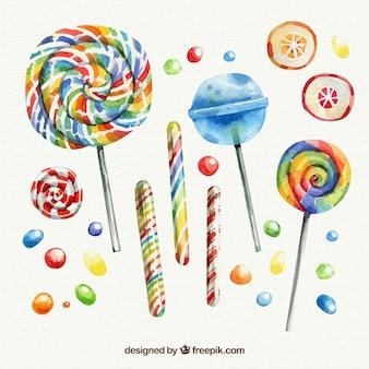 Colección de deliciosos dulces en estilo acuarela