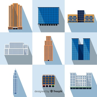 Colección de diferentes edificios de oficina
