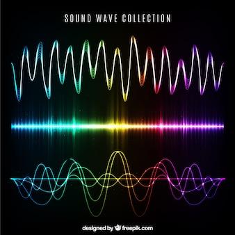 Colección de diferentes tipos de ondas sonoras