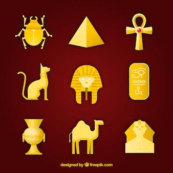 Colección de dioses y símbolos egipcios con diseño plano