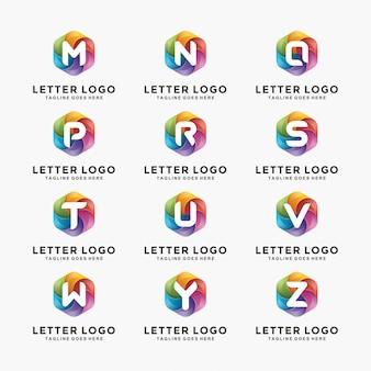 Colección de diseño de logotipo letra colorida