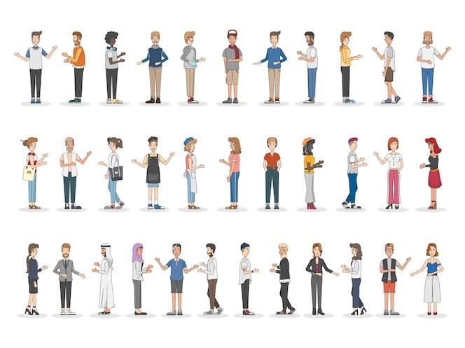 Colección de diversas personas ilustradas