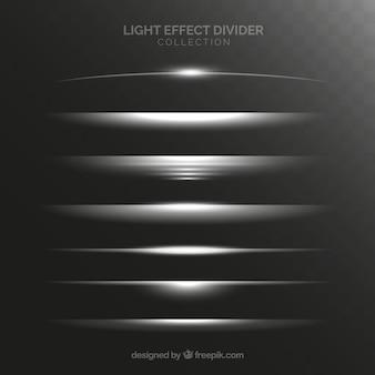 Colección de divisores con efecto de luz