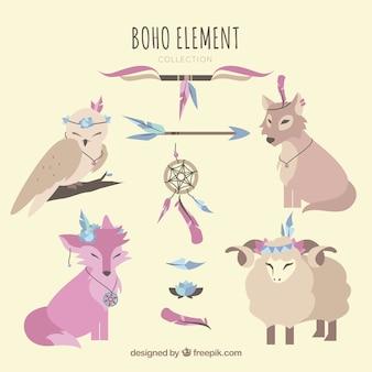 Colección de elementos boho con lindos animales