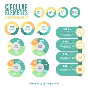 Colección de elementos circulares para infografía