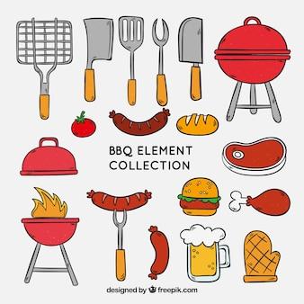 Colección de elementos de barbacoa para cocinar