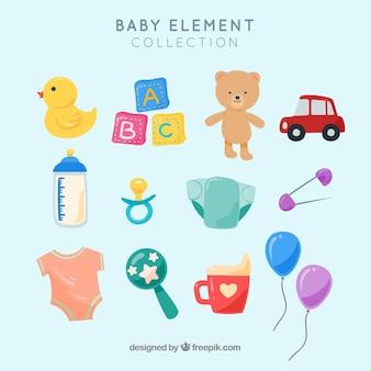 Colección de elementos de bebé con diseño plano