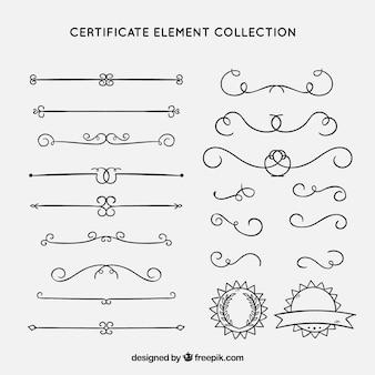 Colección de elementos de certificado con ornamentos