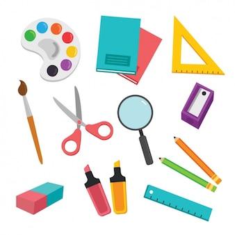Colección de elementos de colegio